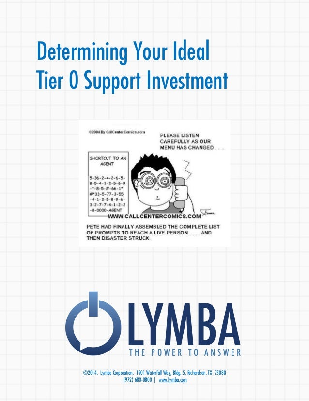 Determining Your Ideal  Tier 0 Support Investment  LYMBA T H E P O W E R T O A N S W E R  ©2014. Lymba Corporation. 1901 W...