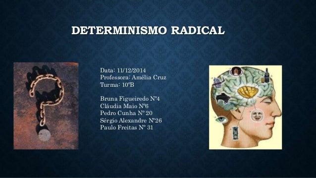 DETERMINISMO RADICAL  Data: 11/12/2014  Professora: Amélia Cruz  Turma: 10ºB  Bruna Figueiredo Nº4  Cláudia Maio Nº6  Pedr...
