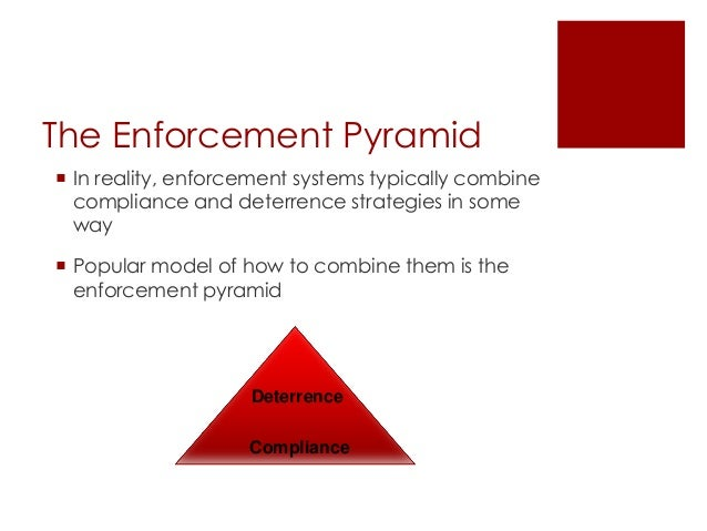 The Enforcement Pyramid  In reality, enforcement systems typically combine compliance and deterrence strategies in some w...