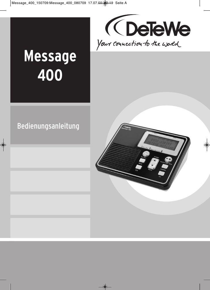 Message  400Bedienungsanleitung