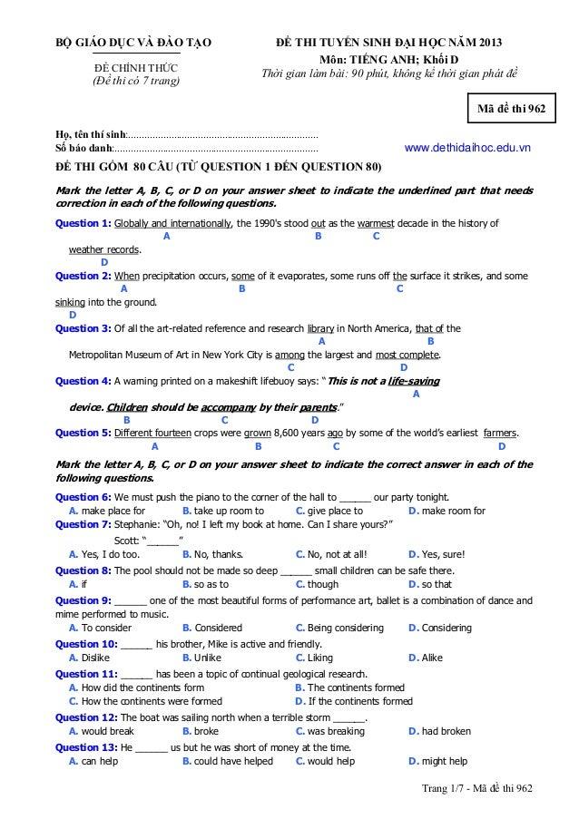 Trang 1/7 - Mã đề thi 962 BỘ GIÁO DỤC VÀ ĐÀO TẠO ĐỀ CHÍNH THỨC (Đề thi có 7 trang) ĐỀ THI TUYỂN SINH ĐẠI HỌC NĂM 2013 Môn:...