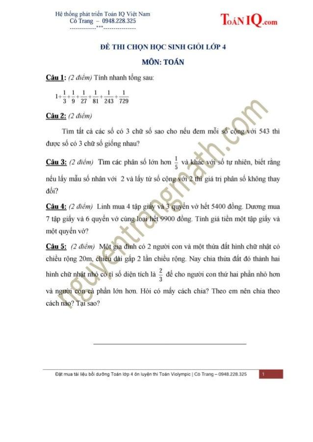 ĐỀ THI HSG TOÁN LỚP 4 - ĐỀ SỐ 1