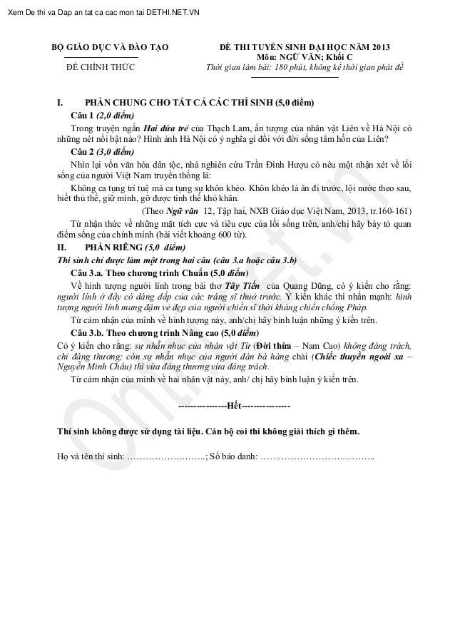 BỘ GIÁO DỤC VÀ ĐÀO TẠO ĐỀ CHÍNH THỨC ĐỀ THI TUYỂN SINH ĐẠI HỌC NĂM 2013 Môn: NGỮ VĂN; Khối C t t t I. PHẦN CHUNG CHO TẤT C...