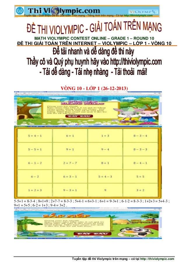 Tuyển tập đề thi Violympic trên mạng – có tại http://thiviolympic.com MATH VIOLYMPIC CONTEST ONLINE – GRADE 1 – ROUND 10 Đ...
