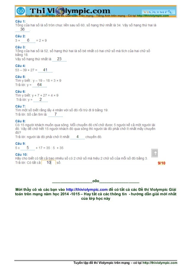 9/10 ___________________o0o___________________ Mời thầy cô và các bạn vào http://thiviolympic.com để có tất cả các Đề thi ...