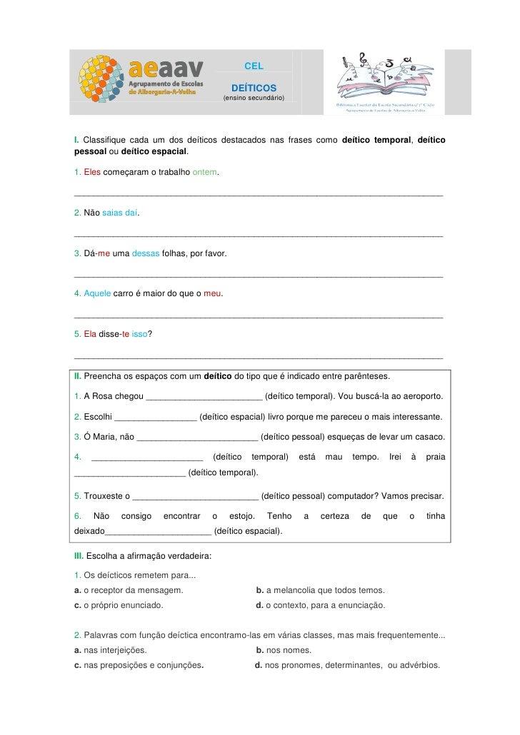 CEL                                             DEÍTICOS                                           (ensino secundário)I. C...