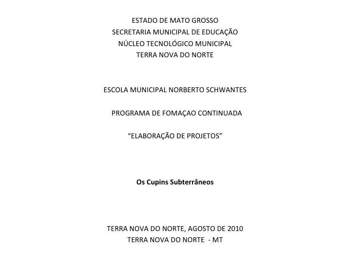 ESTADO DE MATO GROSSO SECRETARIA MUNICIPAL DE EDUCAÇÃO NÚCLEO TECNOLÓGICO MUNICIPAL TERRA NOVA DO NORTE  ESCOLA MUNICIPAL...