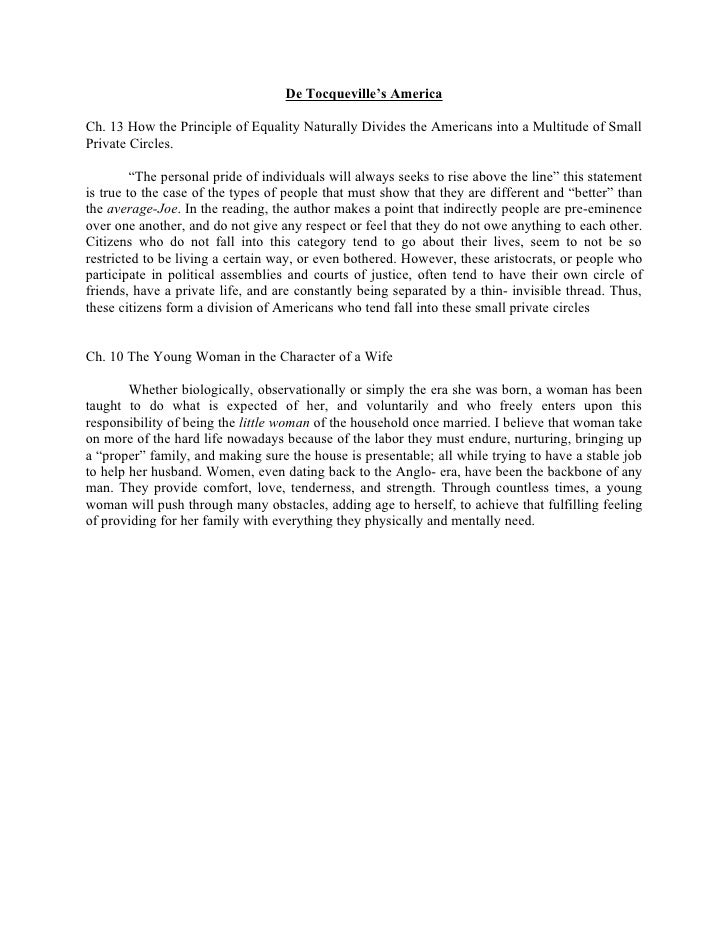 De Tocqueville's America  Ch. 13 How the Principle of Equality Naturally Divides the Americans into a Multitude of Small P...