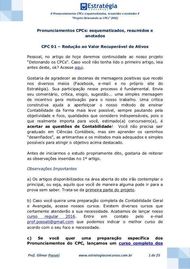 """# Pronunciamentos CPCs: esquematizados, resumidos e anotados # """"Projeto Detonando os CPCs"""" (#02) Prof. Gilmar Possati www...."""