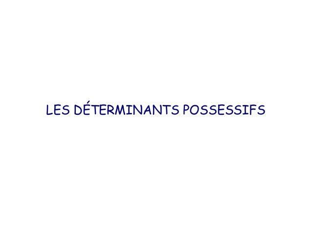 LES DÉTERMINANTS POSSESSIFS