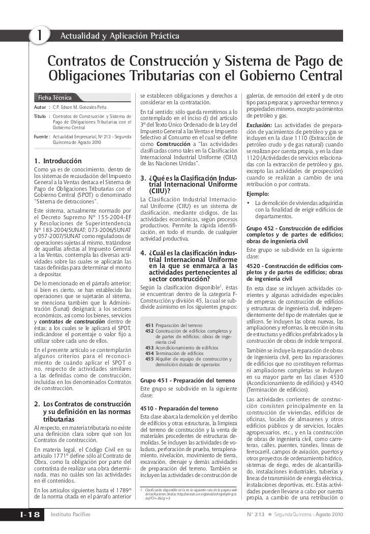 I           Actualidad y Aplicación Práctica        Contratos de Construcción y Sistema de Pago de        Obligaciones Tri...