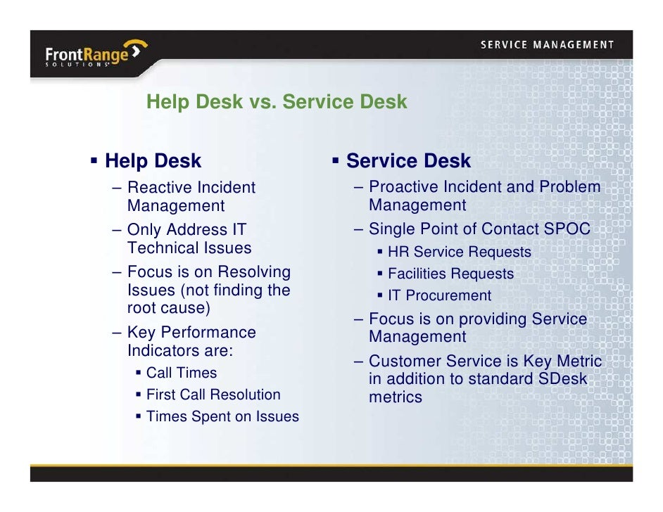 October 2008 - Transforming from Help Desk to Service Desk