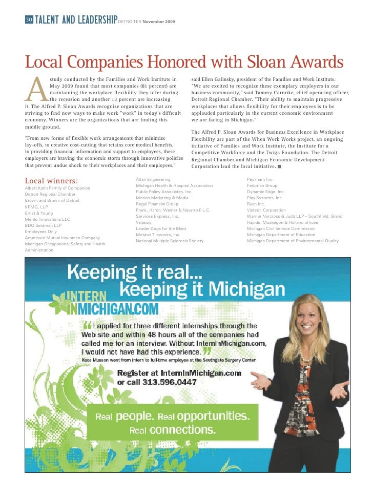 30   TalenT and leadership                DETROITER November 2009     Local Companies Honored with Sloan Awards A         ...
