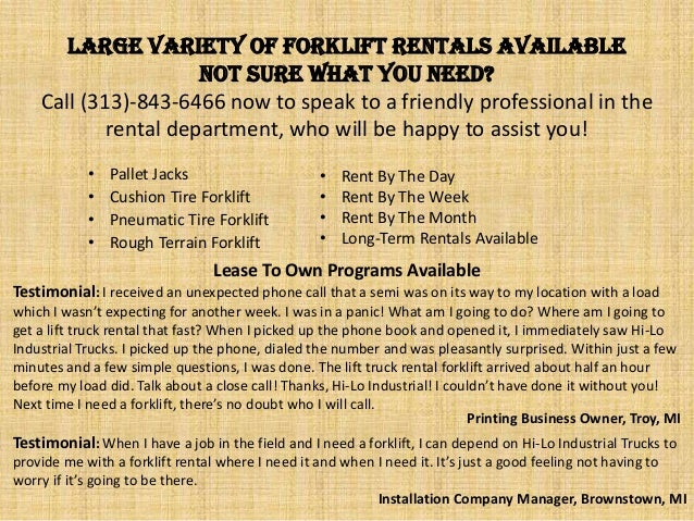 Large Variety of Forklift Rentals Available Not sure what you need? Call (313)-843-6466 now to speak to a friendly profess...