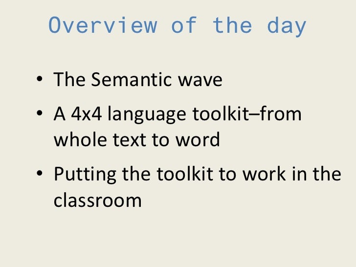 2012 TESOL Seminar 2: Building a 4x4 toolkit for academic literacy  Slide 2