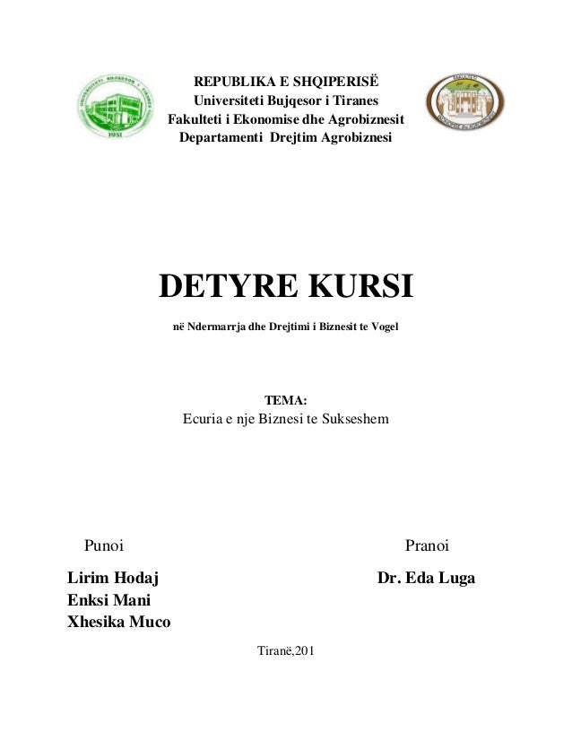 REPUBLIKA E SHQIPERISË              Universiteti Bujqesor i Tiranes           Fakulteti i Ekonomise dhe Agrobiznesit      ...