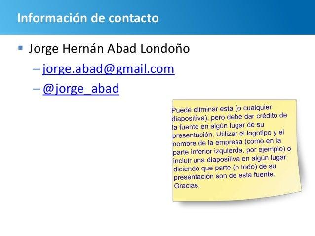 106 Información de contacto  Jorge Hernán Abad Londoño –jorge.abad@gmail.com –@jorge_abad