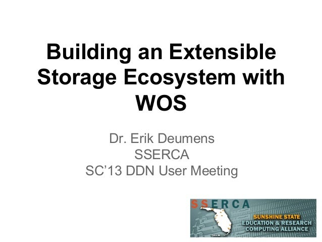Building an Extensible Storage Ecosystem with WOS Dr. Erik Deumens SSERCA SC'13 DDN User Meeting