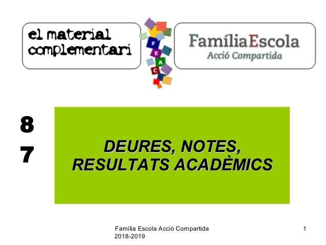 Família Escola Acció Compartida 2018-2019 1 8 7 DEURES, NOTES,DEURES, NOTES, RESULTATS ACADÈMICSRESULTATS ACADÈMICS