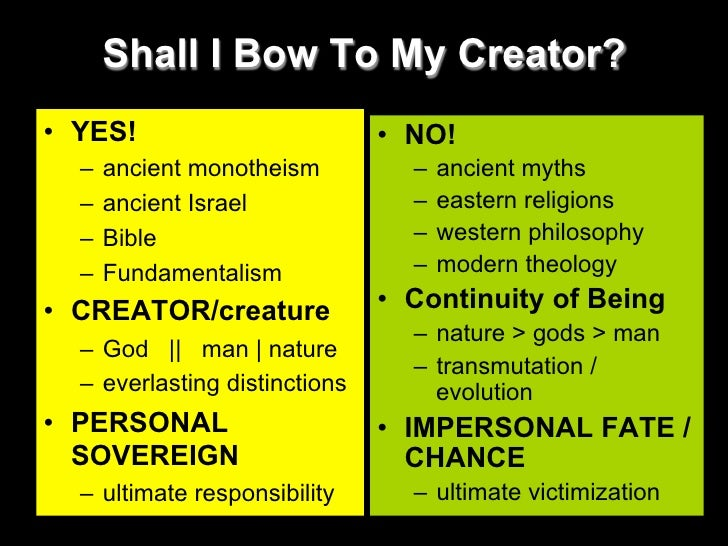 Shall I Bow To My Creator?•  YES!                         •  NO!  –  ancient monotheism           –  ancient myths  –  anc...