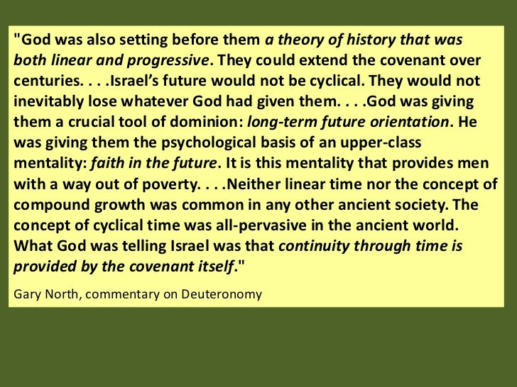 """""""God was also setting before them a theory of history that wasboth linear and progressive. They could extend the covenant ..."""