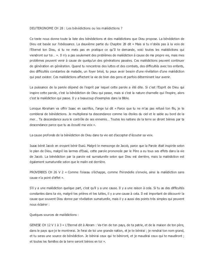 DEUTERONOME CH 28: Les bénédictions ou les malédictions?<br />Ce texte nous donne toute la liste des bénédictions et des...