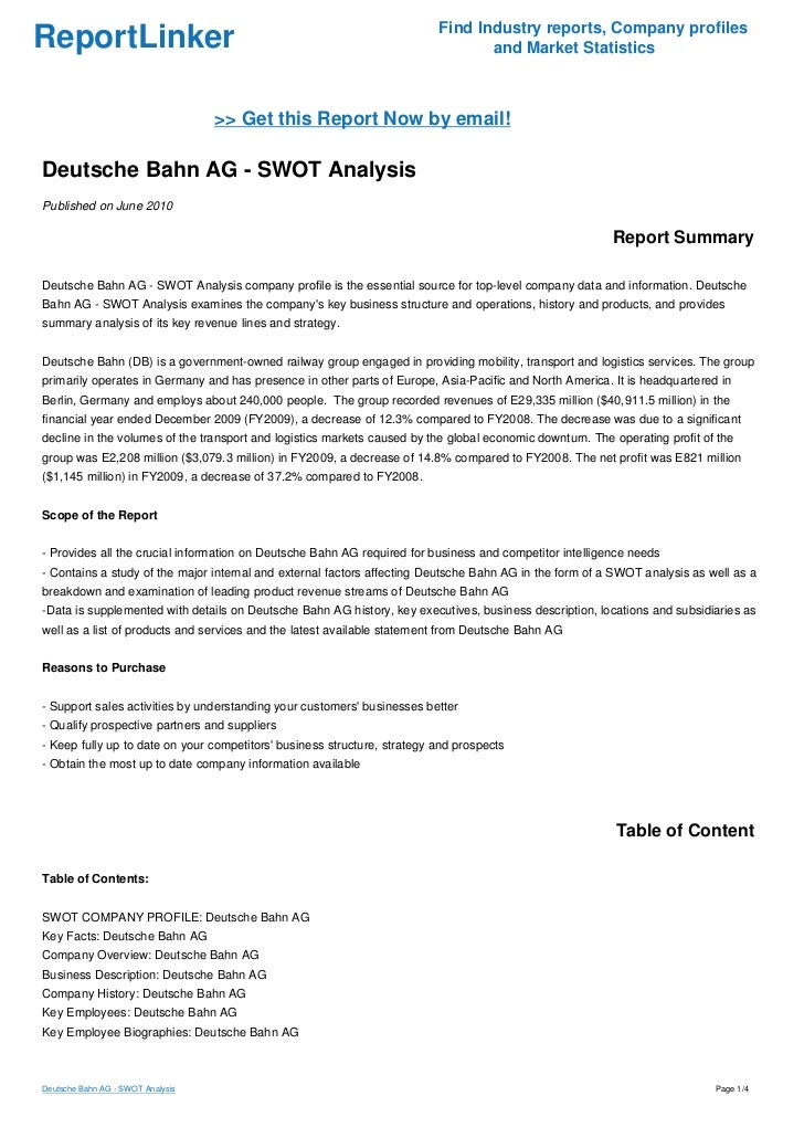 deutsche bahn ag swot analysis Reportbuyer is a market research solution service that gives you access to the latest legal services industry analysis in germany read summary, and buy report now.