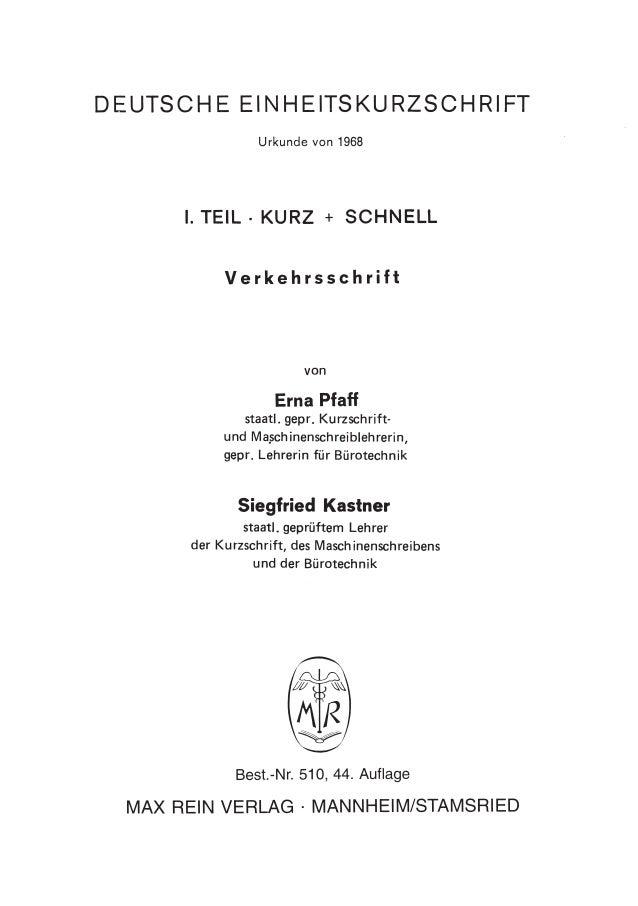 Deutsche einheitskurzschrift school scout