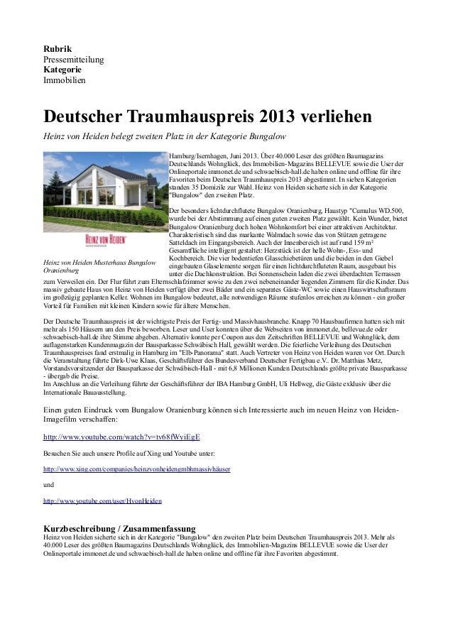 RubrikPressemitteilungKategorieImmobilienDeutscher Traumhauspreis 2013 verliehenHeinz von Heiden belegt zweiten Platz in d...