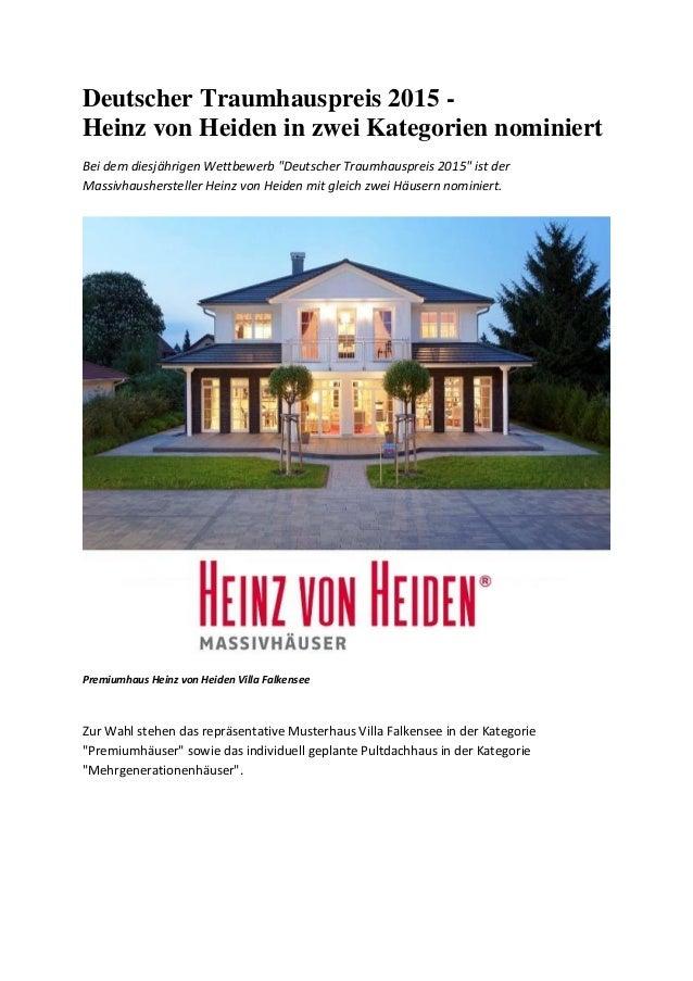 """Deutscher Traumhauspreis 2015 - Heinz von Heiden in zwei Kategorien nominiert Bei dem diesjährigen Wettbewerb """"Deutscher T..."""