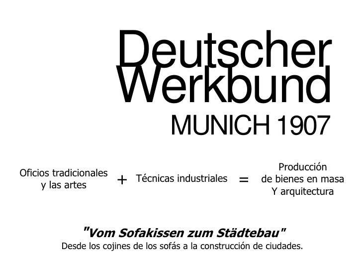 DeutscherWerkbund MUNICH 1907 Producción de bienes en masa Y arquitectura Oficios tradicionales y las artes = + Técnicas i...