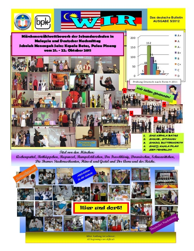 Das deutsche Bulletin  AUSGABE 5/2012  Märchenerzählwettbewerb der Sekundarschulen in  Malaysia und Deutscher Nachmittag  ...