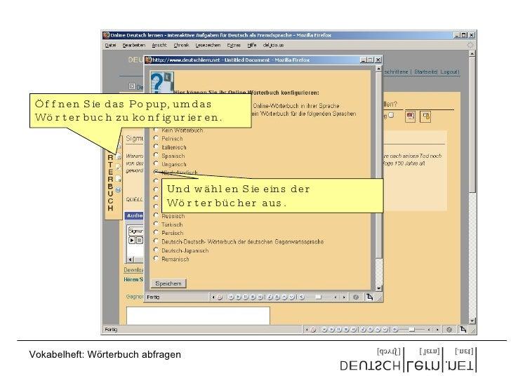 Öffnen Sie das Popup, um das Wörterbuch zu konfigurieren. Und wählen Sie eins der Wörterbücher aus. Vokabelheft: Wörterbuc...