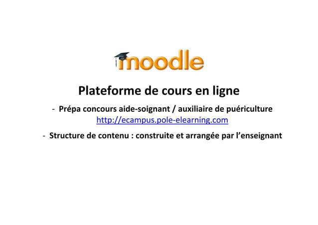 Plateforme de cours en ligne - Prépa concours aide-soignant / auxiliaire de puériculture http://ecampus.pole-elearning.com...