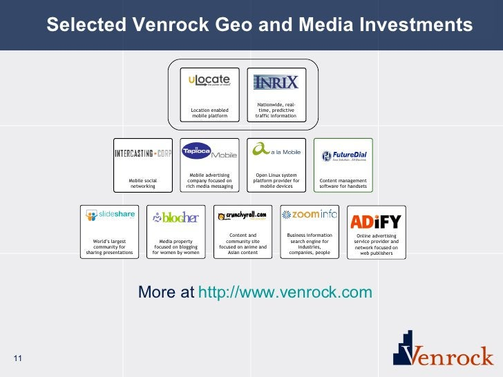 Selected Venrock Geo and Media Investments Mobile social networking Location enabled mobile platform Nationwide, real-time...
