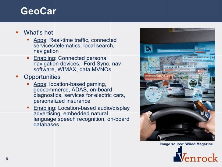GeoCar <ul><li>What's hot </li></ul><ul><ul><li>Apps : Real-time traffic, connected services/telematics, local search, nav...