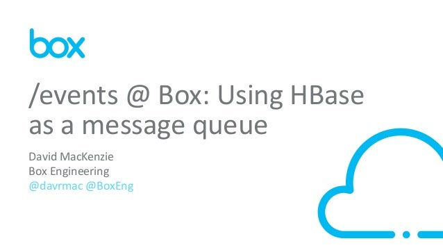 1 David MacKenzie Box Engineering @davrmac @BoxEng /events @ Box: Using HBase as a message queue