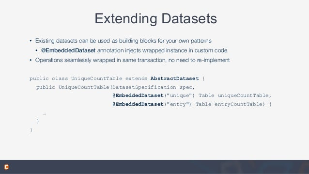 Extending Datasets • Existing datasets can be used as building blocks for your own patterns • @EmbeddedDataset annotation ...