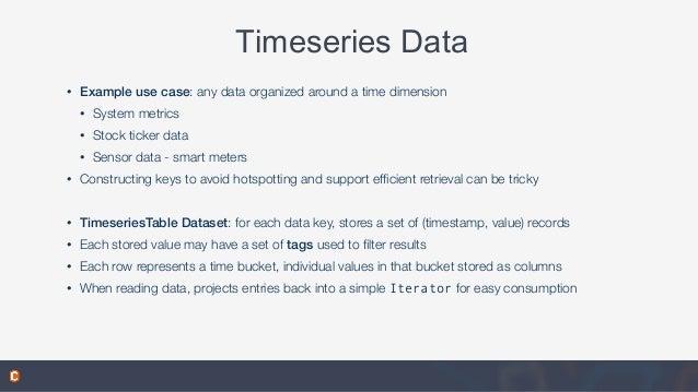 Timeseries Data • Example use case: any data organized around a time dimension • System metrics • Stock ticker data • Sens...