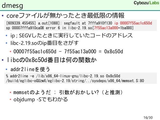 • coreファイルが無かったとき最低限の情報 • ip ; SEGVしたときに実行していたコードのアドレス • libc-2.19.soのip番目をさがす • 00007f55ac1c650d - 7f55ac13a000 = 0x8c50d...