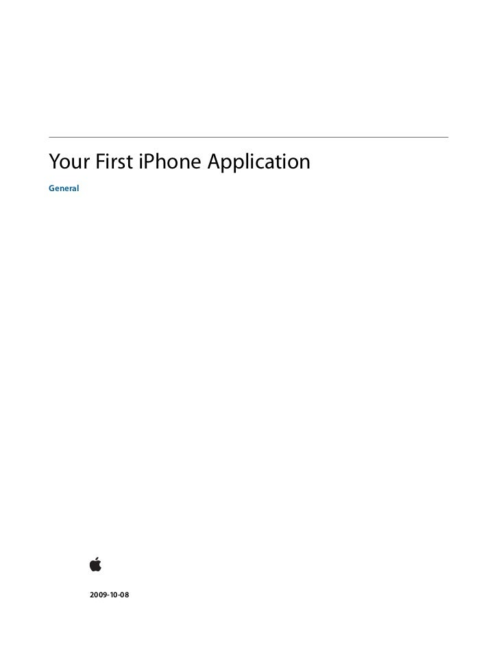 Your First iPhone ApplicationGeneral          2009-10-08