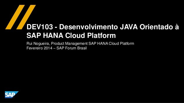 DEV103 - Desenvolvimento JAVA Orientado à SAP HANA Cloud Platform Rui Nogueira, Product Management SAP HANA Cloud Platform...