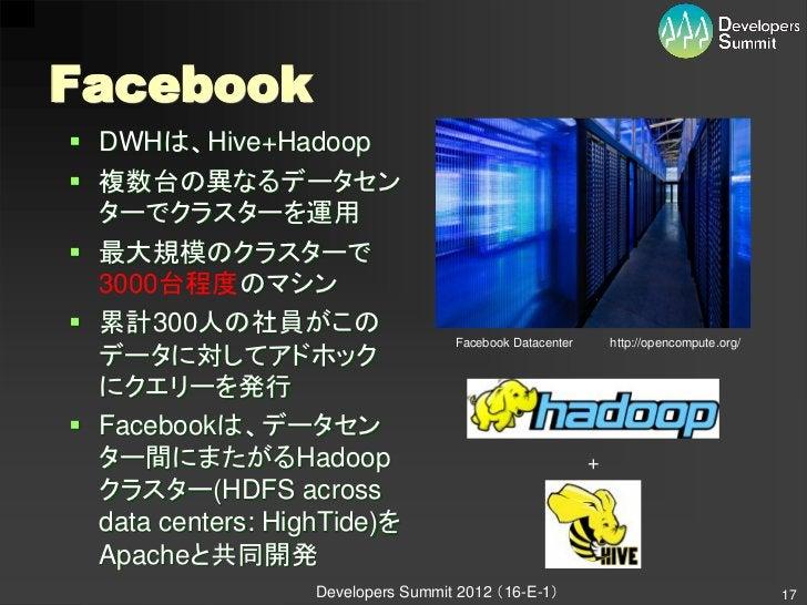 Facebook DWHは、Hive+Hadoop 複数台の異なるデータセン  ターでクラスターを運用 最大規模のクラスターで  3000台程度のマシン 累計300人の社員がこの                             ...