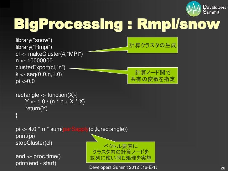 """BigProcessing : Rmpi/snowlibrary(""""snow"""")library(""""Rmpi"""")                                    計算クラスタの生成cl <- makeCluster(4,""""M..."""