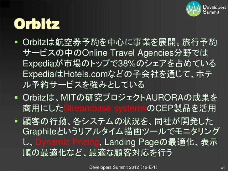 Orbitz Orbitzは航空券予約を中心に事業を展開。旅行予約  サービスの中のOnline Travel Agencies分野では  Expediaが市場のトップで38%のシェアを占めている  ExpediaはHotels.comなどの...