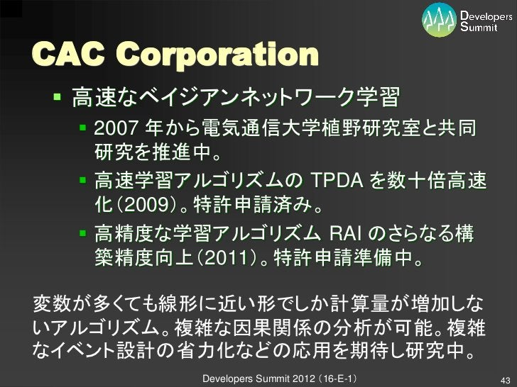 CAC Corporation  高速なベイジアンネットワーク学習   2007 年から電気通信大学植野研究室と共同    研究を推進中。   高速学習アルゴリズムの TPDA を数十倍高速    化(2009)。特許申請済み。   高...