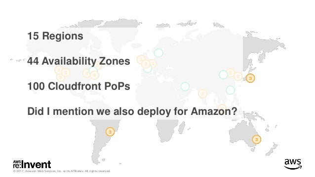 © 2017, Amazon Web Services, Inc. or its Affiliates. All rights reserved. 15 Regions 44 Availability Zones 100 Cloudfront ...