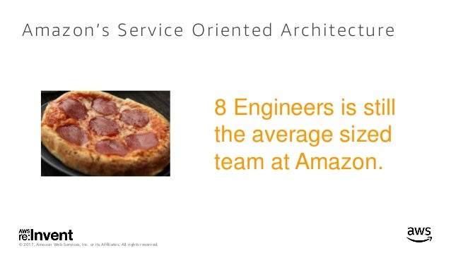 © 2017, Amazon Web Services, Inc. or its Affiliates. All rights reserved. Amazon's Service Oriented Architecture 8 Enginee...