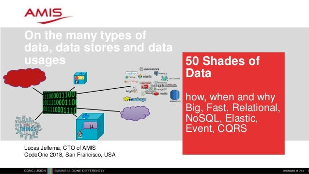 50 Shades of Data how, when and why Big, Fast, Relational, NoSQL, Elastic, Event, CQRS On the many types of data, data sto...