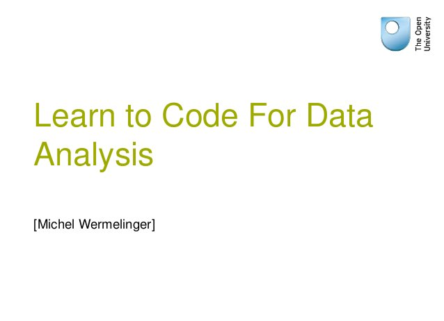 Learn to Code For Data Analysis [Michel Wermelinger]